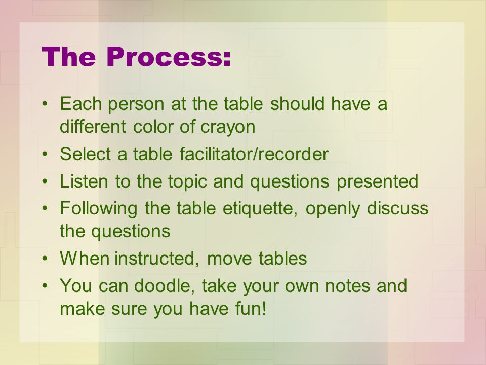 The Process: Each person at the table should have a different color of crayon Select a table facilitator/recorder Listen to the topic and questions presented Following the table etiquette, openly discuss the questions When instructed, move tables You can doodle, take your own notes and make sure you have fun!