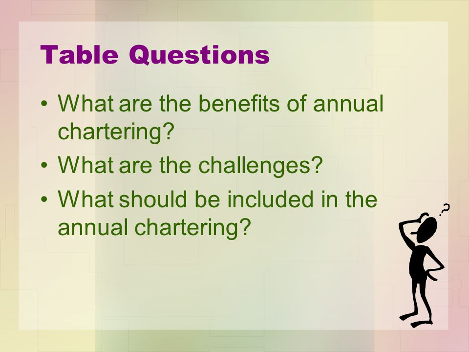 Table Questions What are the benefits of annual chartering.