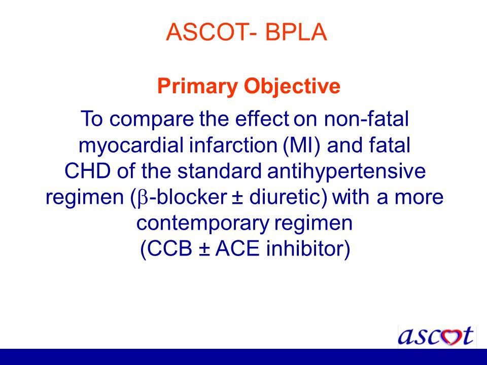 ASCOT- BPLA To compare the effect on non-fatal myocardial infarction (MI) and fatal CHD of the standard antihypertensive regimen ( -blocker ± diuretic