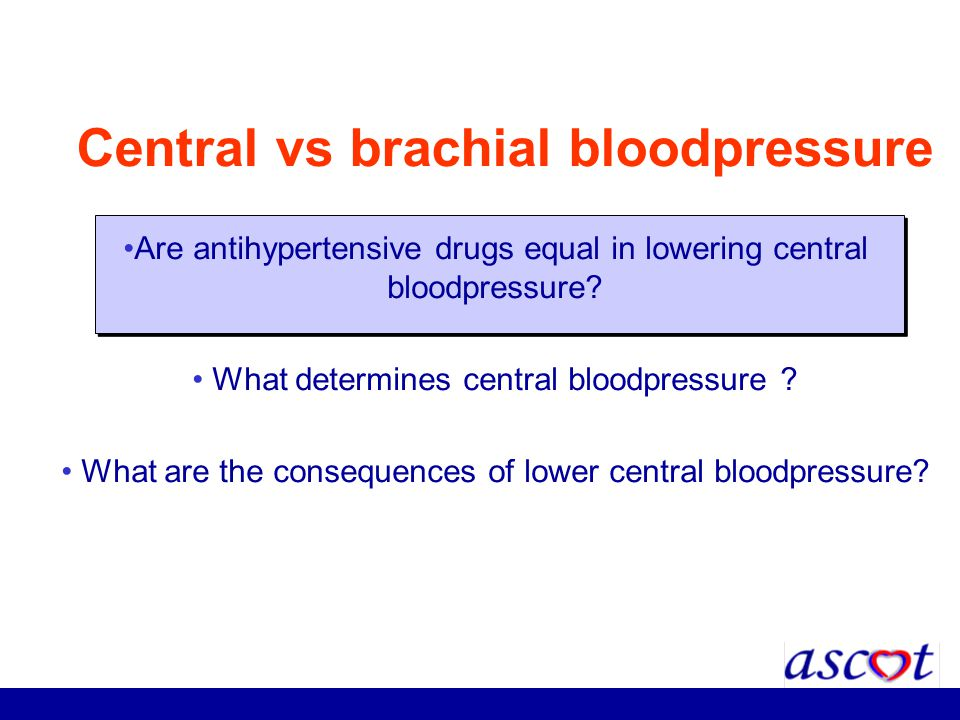 Central vs brachial bloodpressure Are antihypertensive drugs equal in lowering central bloodpressure? What determines central bloodpressure ? What are