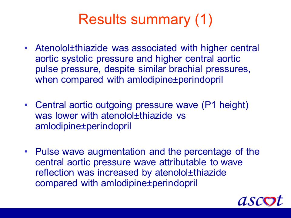 Results summary (1) Atenolol±thiazide was associated with higher central aortic systolic pressure and higher central aortic pulse pressure, despite si