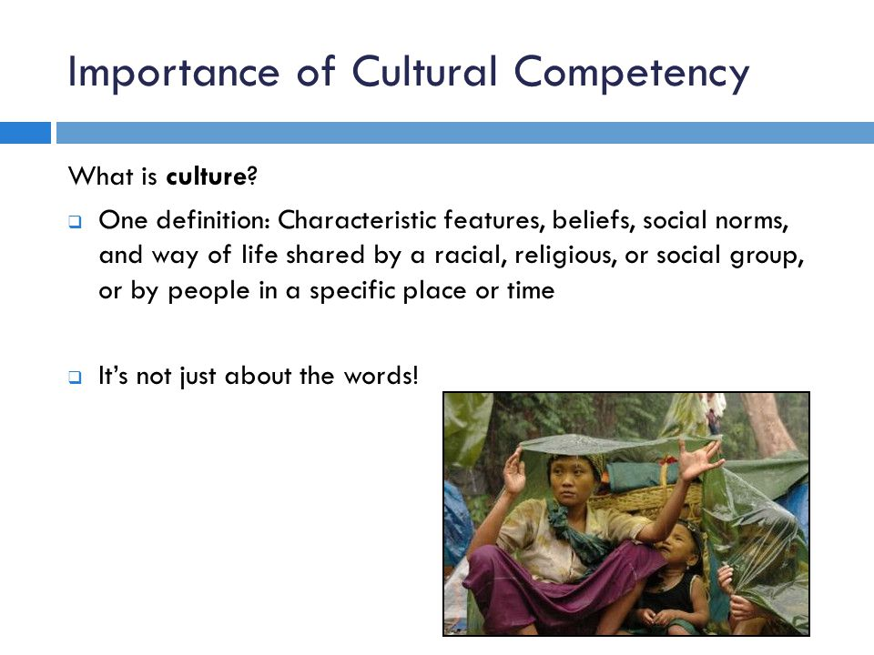 Importance of Cultural Competency What is culture.