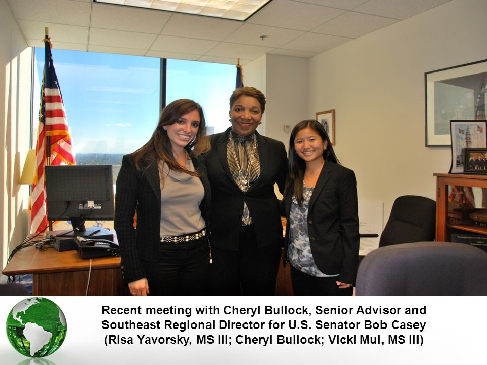 Recent meeting with Cheryl Bullock, Senior Advisor and Southeast Regional Director for U.S.