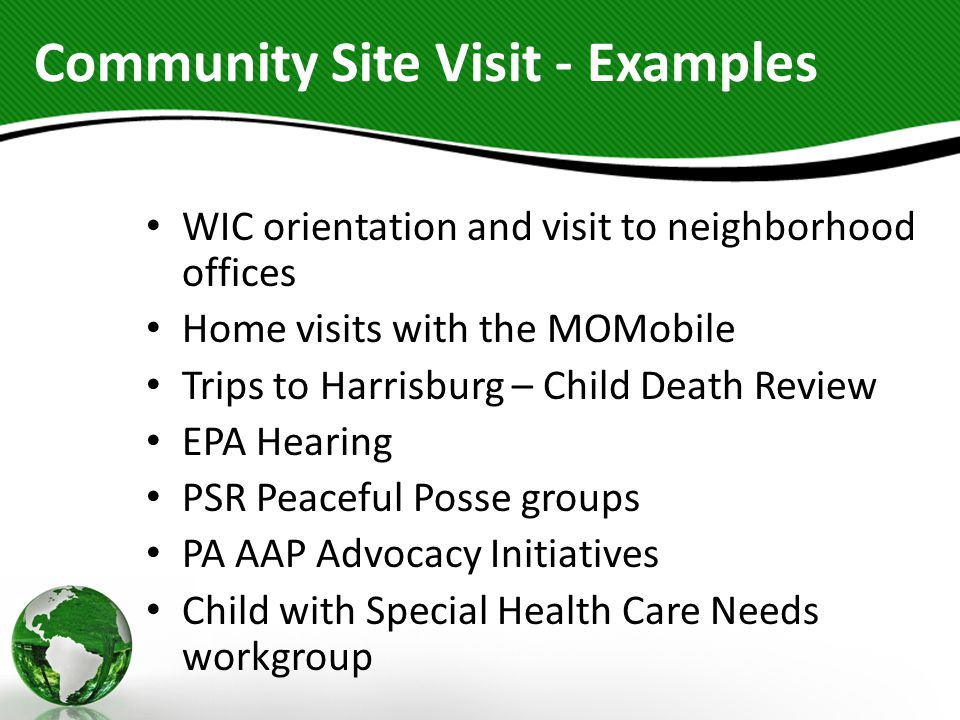 Community Site Visit - Examples WIC orientation and visit to neighborhood offices Home visits with the MOMobile Trips to Harrisburg – Child Death Review EPA Hearing PSR Peaceful Posse groups PA AAP Advocacy Initiatives Child with Special Health Care Needs workgroup