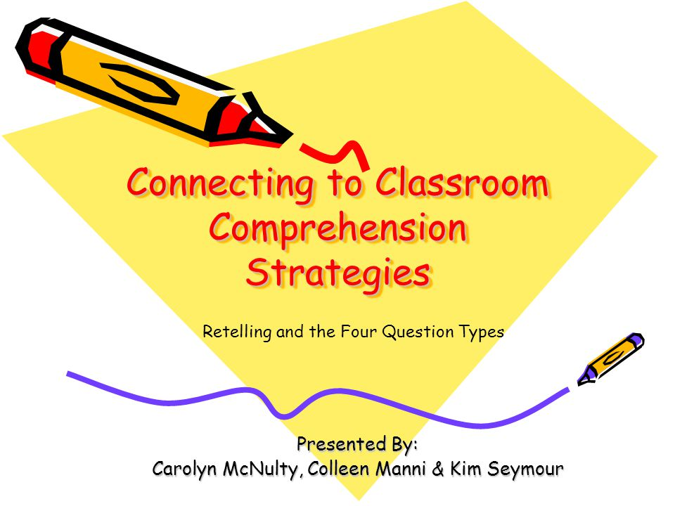 Connecting to Classroom Comprehension Strategies Presented By: Carolyn McNulty, Colleen Manni & Kim Seymour Retelling and the Four Question Types