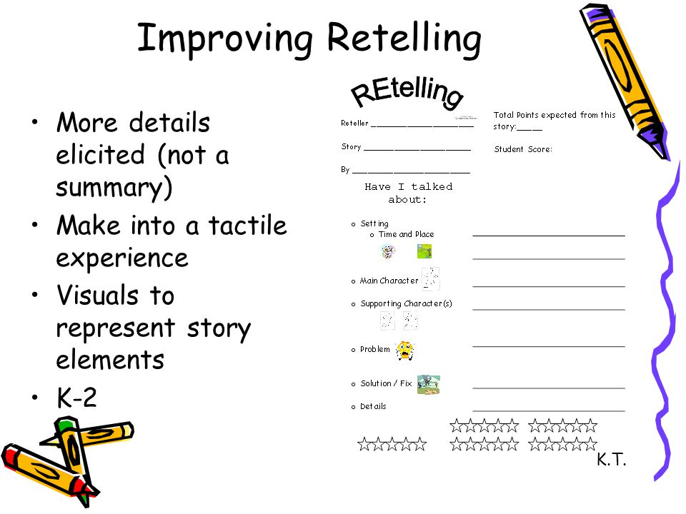 Improving Retelling More details elicited (not a summary) Make into a tactile experience Visuals to represent story elements K-2 K.T.