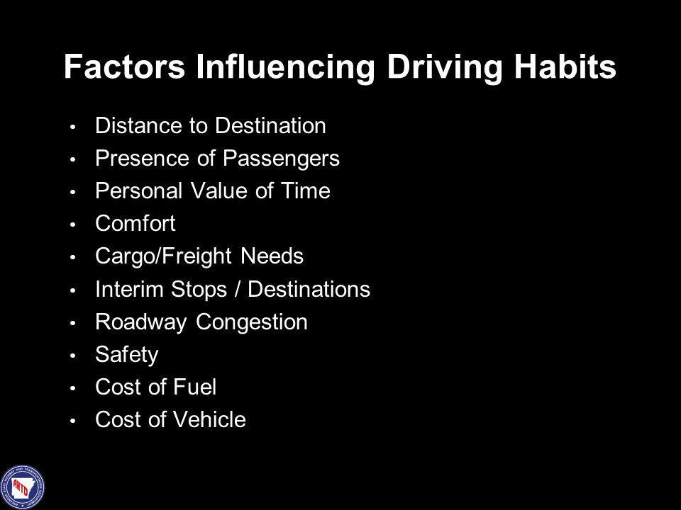 Factors Influencing Driving Habits Distance to Destination Presence of Passengers Personal Value of Time Comfort Cargo/Freight Needs Interim Stops / D