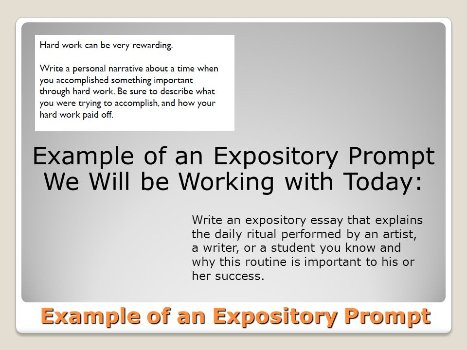 Example of an Expository Prompt Write an expository essay that explains the daily ritual performed by an artist, a writer, or a student you know and w