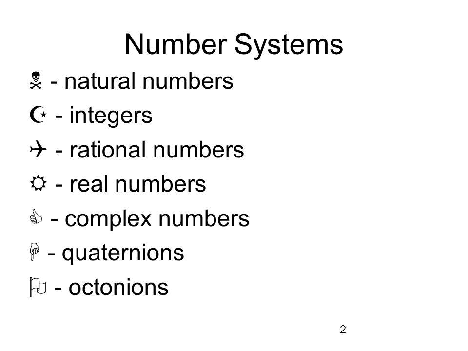 63 The octonions = { b + ci + dj + ak + BE + CI +DJ + AK | b, c, d, a, B, C, D, A } with i, j, k, E, I, J, K as imaginary units.
