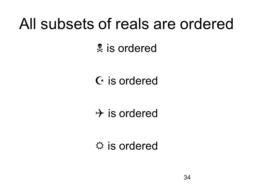 34 All subsets of reals are ordered is ordered