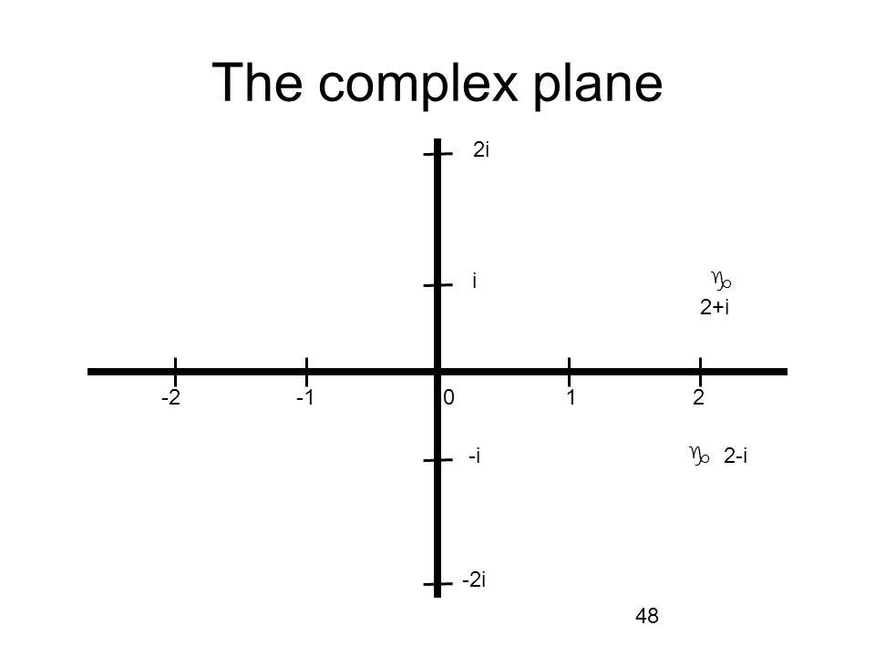 48 The complex plane -2 -1 0 1 2 i i -i 2i -2i 2+i 2-i
