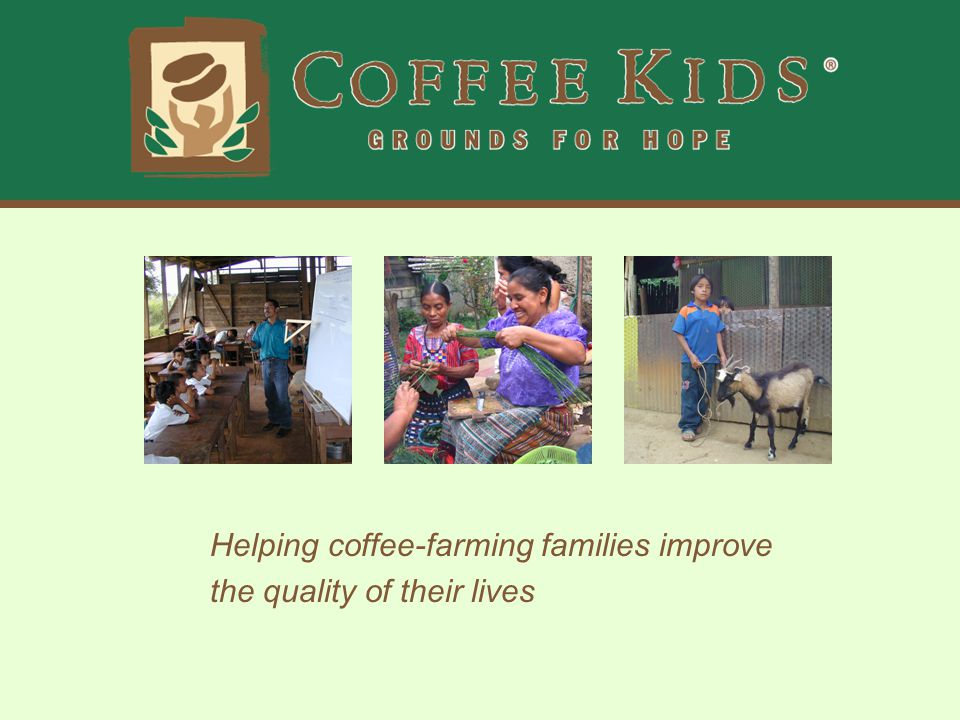 12 Partners - 5 Countries Coffee Kids works with 12 partners in five countries, including: Mexico in North America; Guatemala, Nicaragua, and Costa Rica in Central America; and Peru in South America.