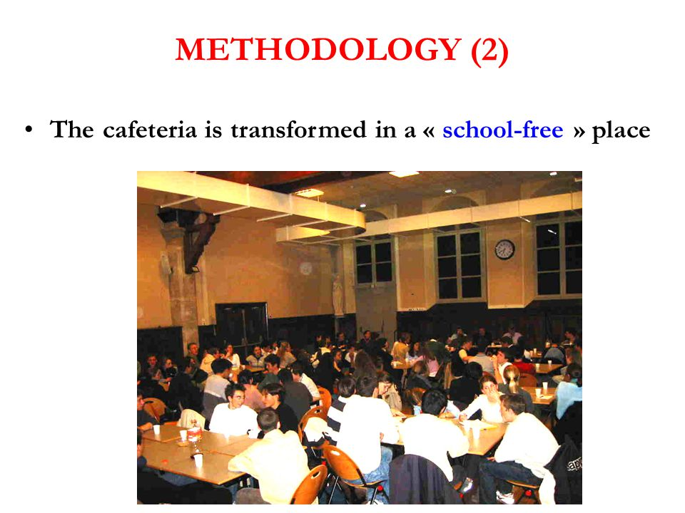 The cafeteria is transformed in a « school-free » place METHODOLOGY (2)