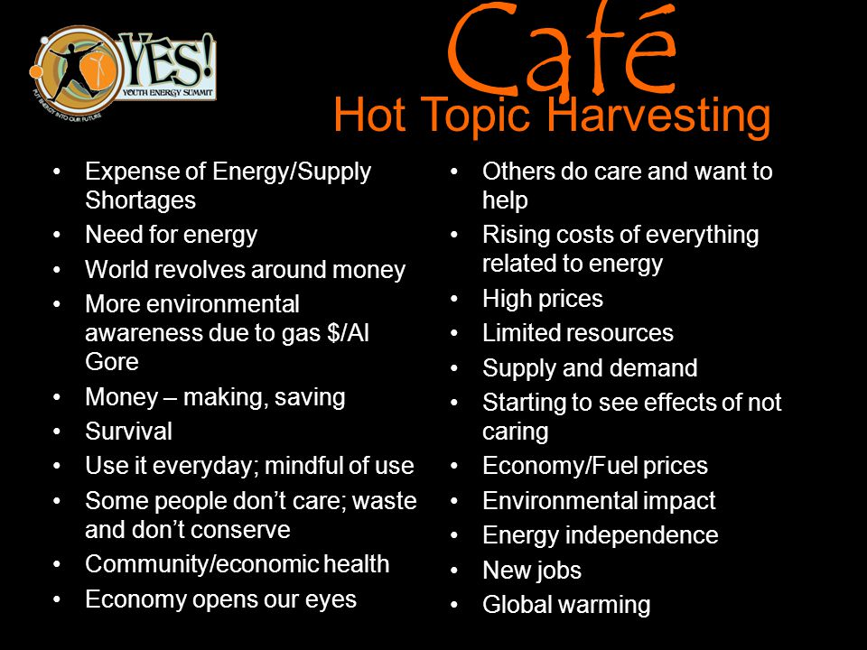 Café Hot Topic Harvesting Expense of Energy/Supply Shortages Need for energy World revolves around money More environmental awareness due to gas $/Al Gore Money – making, saving Survival Use it everyday; mindful of use Some people dont care; waste and dont conserve Community/economic health Economy opens our eyes Others do care and want to help Rising costs of everything related to energy High prices Limited resources Supply and demand Starting to see effects of not caring Economy/Fuel prices Environmental impact Energy independence New jobs Global warming