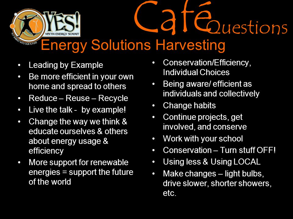 Café Questions Energy Solutions Harvesting Leading by Example Be more efficient in your own home and spread to others Reduce – Reuse – Recycle Live the talk - by example.