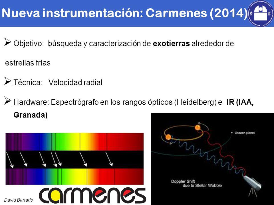 David Barrado Objetivo: búsqueda y caracterización de exotierras alrededor de estrellas frías Técnica: Velocidad radial Hardware: Espectrógrafo en los rangos ópticos (Heidelberg) e IR (IAA, Granada) Nueva instrumentación: Carmenes (2014)