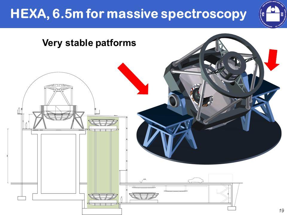 David Barrado 19 HEXA, 6.5m for massive spectroscopy Very stable patforms