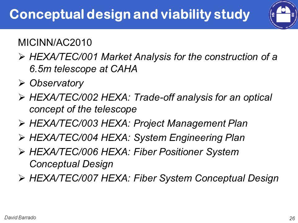 David Barrado Conceptual design and viability study MICINN/AC2010 HEXA/TEC/001 Market Analysis for the construction of a 6.5m telescope at CAHA Observatory HEXA/TEC/002 HEXA: Trade-off analysis for an optical concept of the telescope HEXA/TEC/003 HEXA: Project Management Plan HEXA/TEC/004 HEXA: System Engineering Plan HEXA/TEC/006 HEXA: Fiber Positioner System Conceptual Design HEXA/TEC/007 HEXA: Fiber System Conceptual Design 26