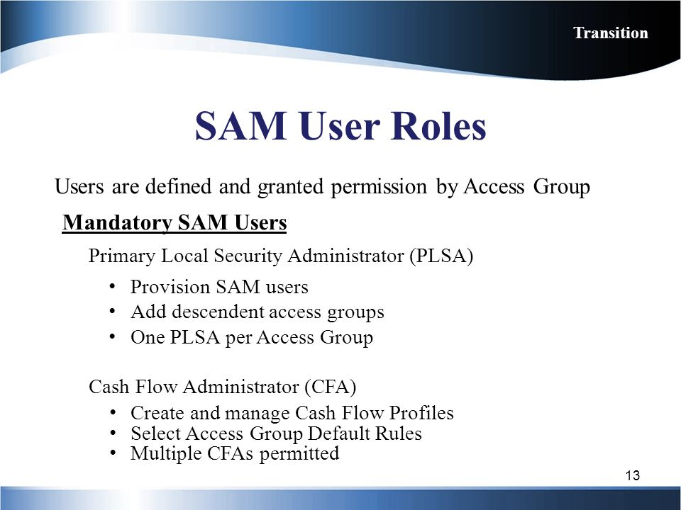 SAM User Roles Users are defined and granted permission by Access Group Mandatory SAM Users Primary Local Security Administrator (PLSA) Provision SAM