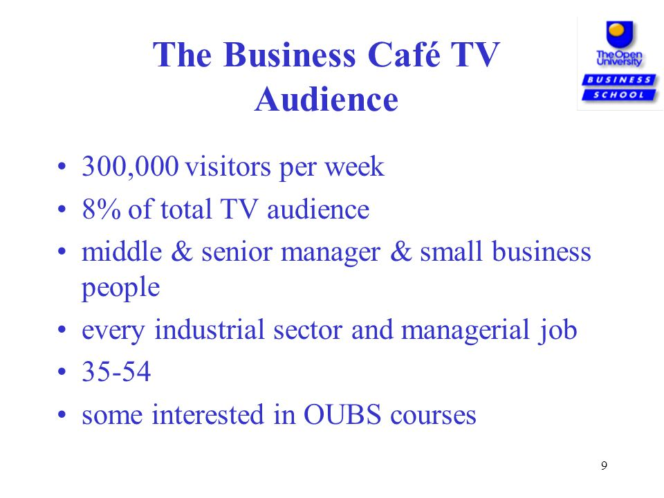 9 The Business Café TV Audience 300,000 visitors per week 8% of total TV audience middle & senior manager & small business people every industrial sector and managerial job 35-54 some interested in OUBS courses