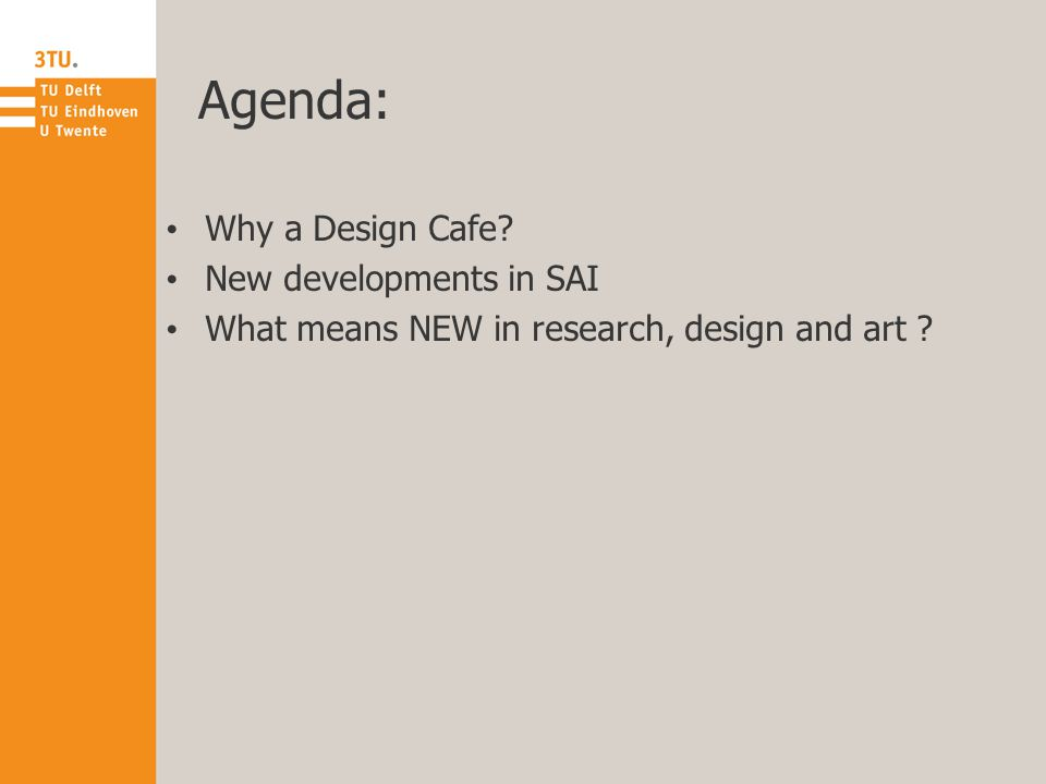 Agenda: Why a Design Cafe New developments in SAI What means NEW in research, design and art