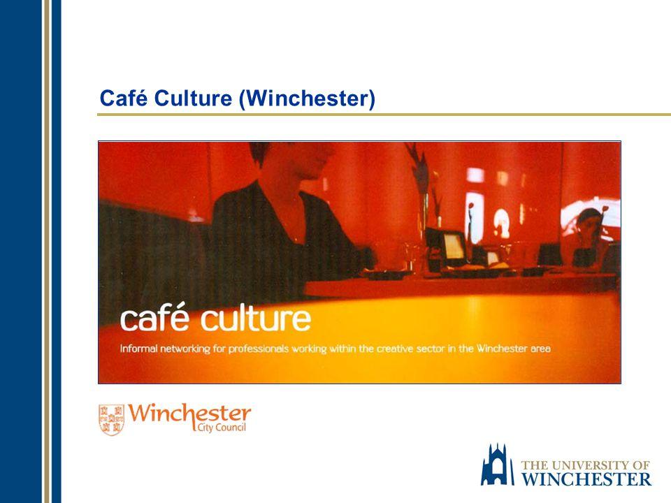 Café Culture (History) established in 2004 55 events (to date) database of over 300 participants approximately 40 – 60 participants at each event website Slug & Lettuce Café/Bar, Winchester