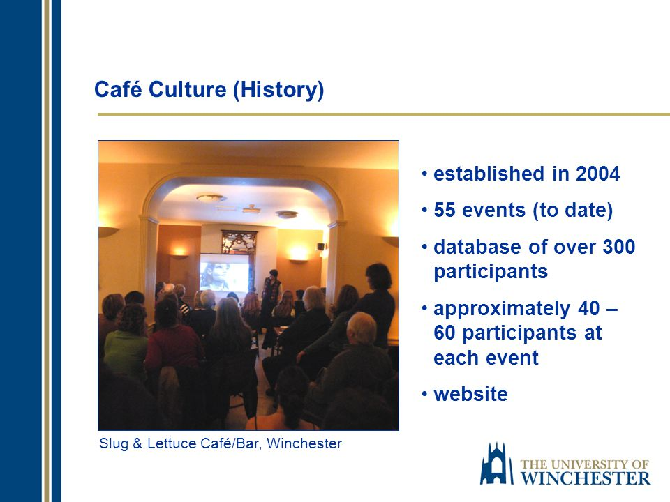 Café Culture (History) established in 2004 55 events (to date) database of over 300 participants approximately 40 – 60 participants at each event website Slug & Lettuce Café/Bar, Winchester