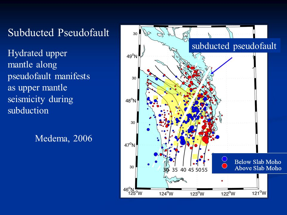 subducted pseudofault Subducted Pseudofault Hydrated upper mantle along pseudofault manifests as upper mantle seismicity during subduction Below Slab Moho Above Slab Moho Medema, 2006