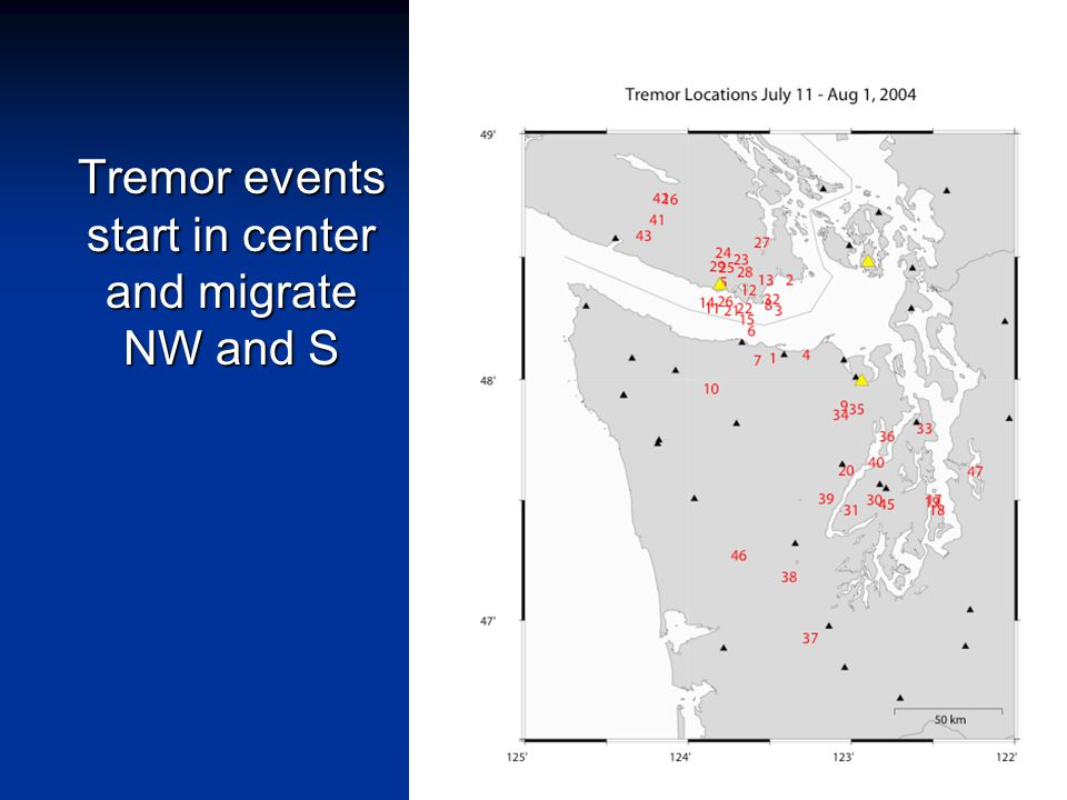 Tremor events start in center and migrate NW and S