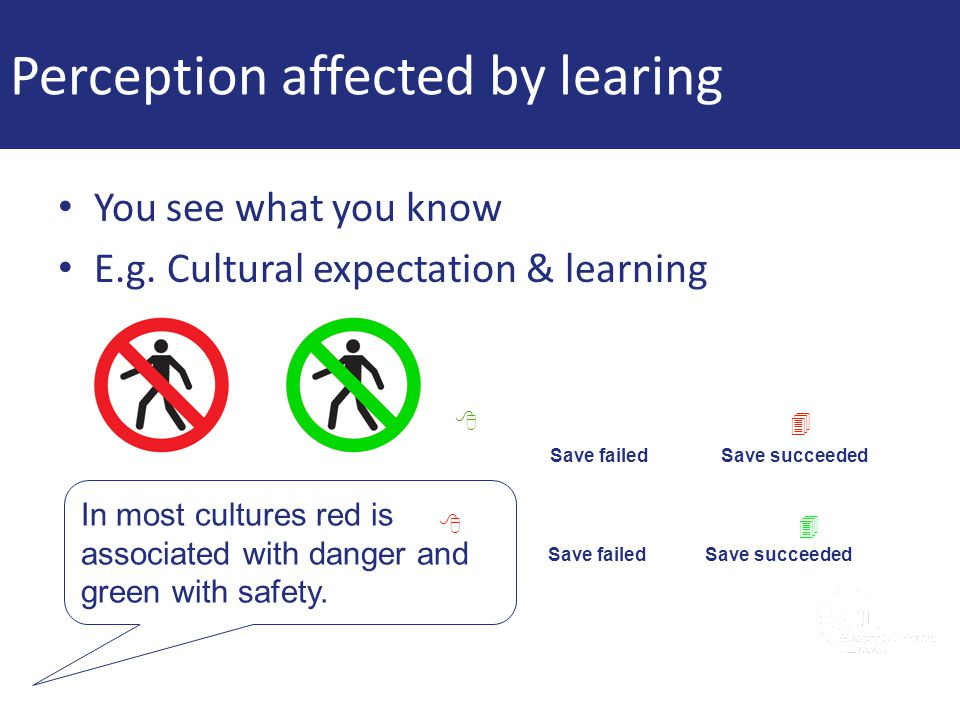 Perception affected by learing You see what you know E.g. Cultural expectation & learning In most cultures red is associated with danger and green wit
