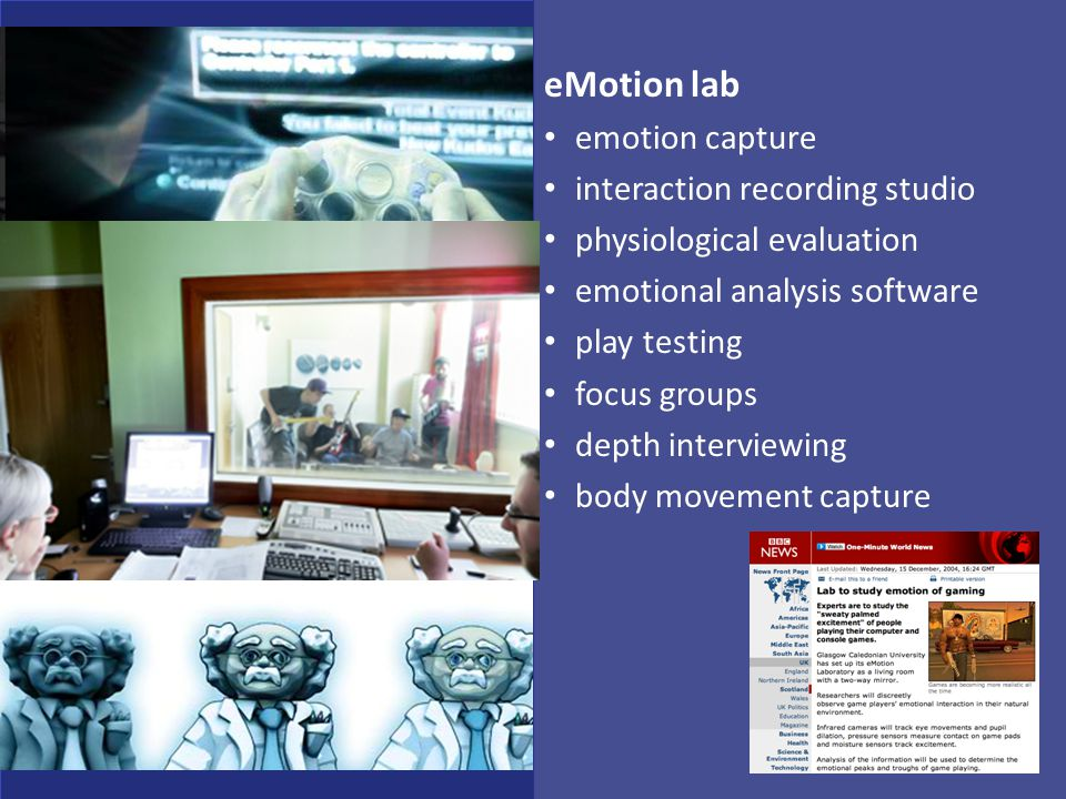 eMotion lab emotion capture interaction recording studio physiological evaluation emotional analysis software play testing focus groups depth intervie