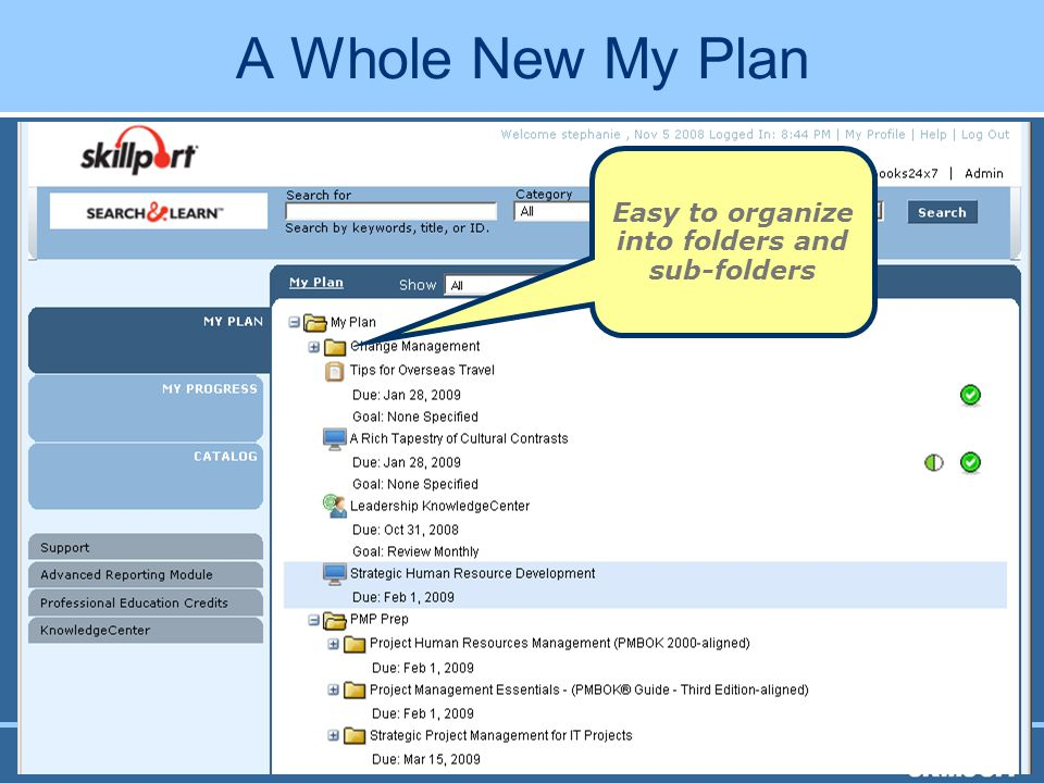 SkillSoft Canadian Perspectives 2008 A Whole New My Plan Easy to organize into folders and sub-folders