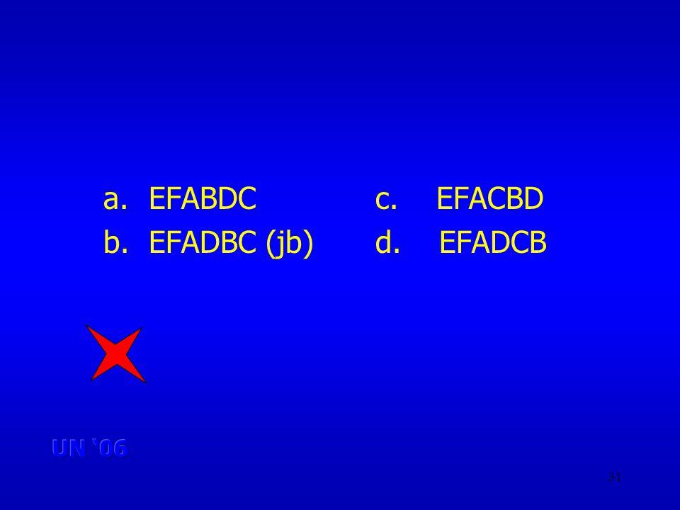 31 a.EFABDCc. EFACBD b.EFADBC (jb)d. EFADCB