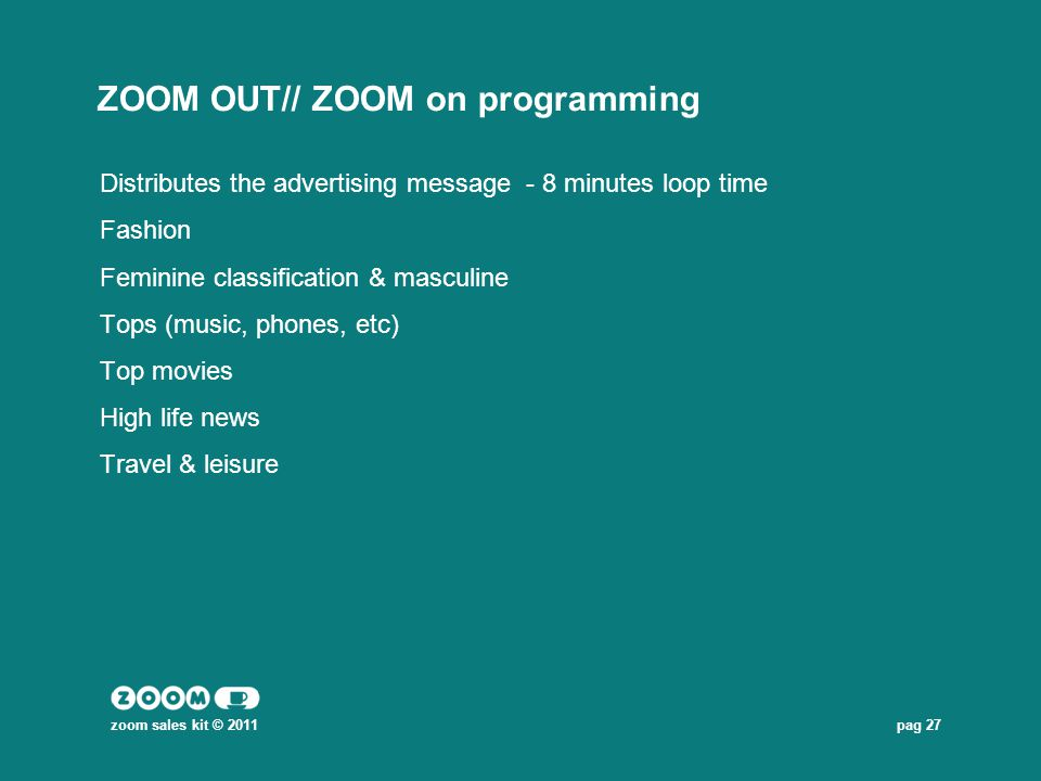 pag 27 ZOOM OUT// ZOOM on programming Distributes the advertising message - 8 minutes loop time Fashion Feminine classification & masculine Tops (musi