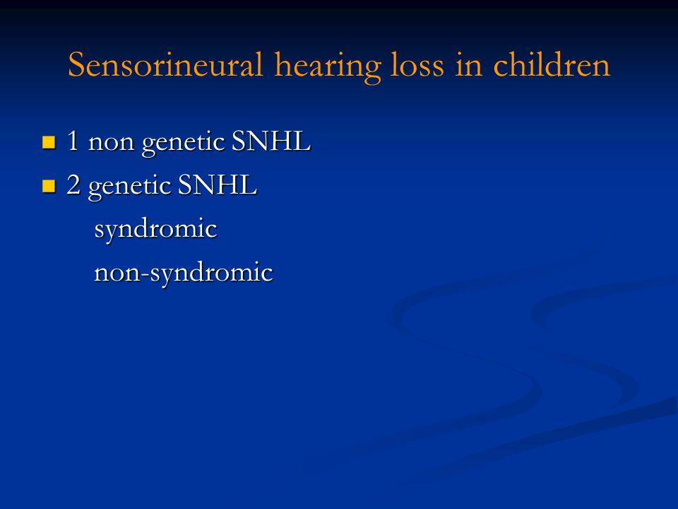 Sensorineural hearing loss in children 1 non genetic SNHL 1 non genetic SNHL 2 genetic SNHL 2 genetic SNHL syndromic syndromic non-syndromic non-syndr