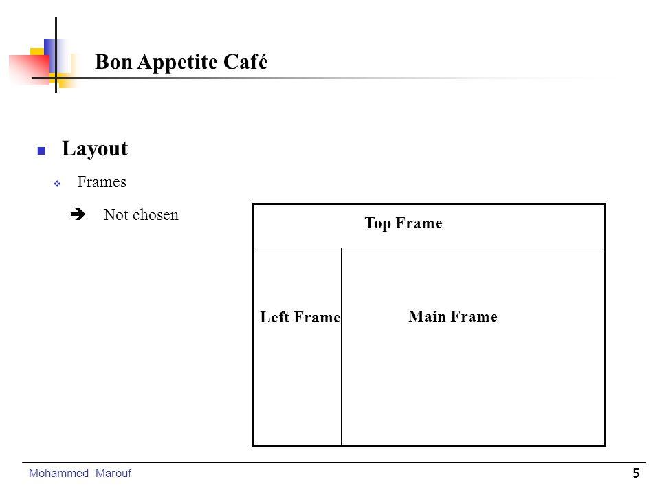 6 Navigation Buttons Navigation Links Title Pannel Logo and Graphs Main Information 20 % 60 % 620 PIxels Layout Mohammed Marouf Bon Appetite Café Tables ( OK)