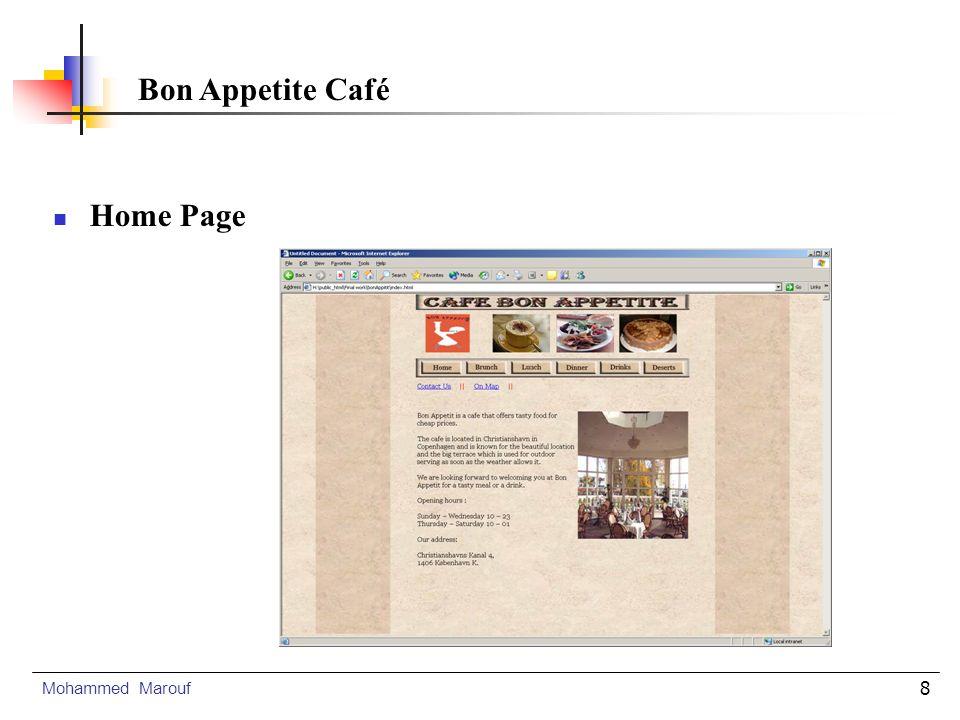 9 Design Challenges Mohammed Marouf Bon Appetite Café Navigation Colour selection Image slection Text selection