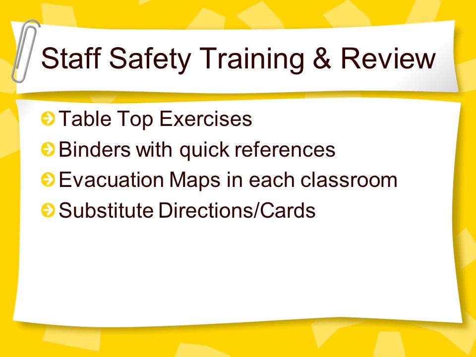Staff Safety Training & Review Table Top Exercises Binders with quick references Evacuation Maps in each classroom Substitute Directions/Cards