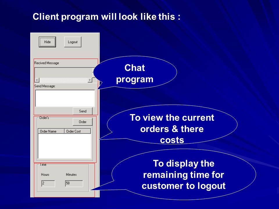 Client program will look like this : Chat program To display the remaining time for customer to logout To view the current orders & there costs