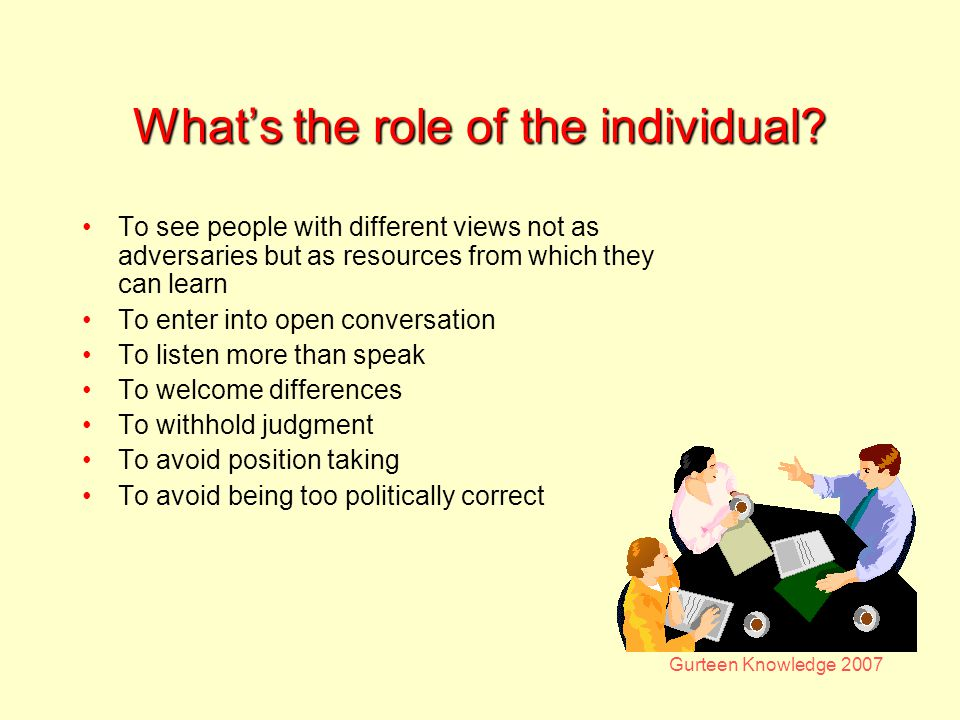 Gurteen Knowledge 2007 Whats the role of the individual.