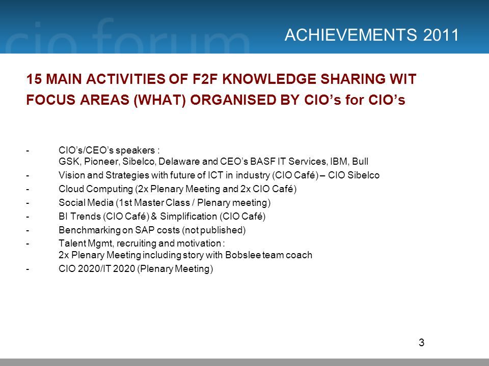 ACHIEVEMENTS 2011 15 MAIN ACTIVITIES OF F2F KNOWLEDGE SHARING WIT FOCUS AREAS (WHAT) ORGANISED BY CIOs for CIOs -CIOs/CEOs speakers : GSK, Pioneer, Sibelco, Delaware and CEOs BASF IT Services, IBM, Bull -Vision and Strategies with future of ICT in industry (CIO Café) – CIO Sibelco -Cloud Computing (2x Plenary Meeting and 2x CIO Café) -Social Media (1st Master Class / Plenary meeting) -BI Trends (CIO Café) & Simplification (CIO Café) -Benchmarking on SAP costs (not published) -Talent Mgmt, recruiting and motivation : 2x Plenary Meeting including story with Bobslee team coach -CIO 2020/IT 2020 (Plenary Meeting) 3