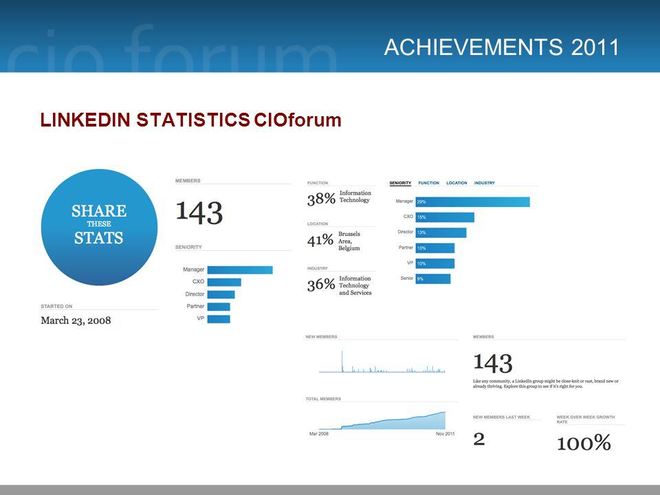 ACHIEVEMENTS 2011 LINKEDIN STATISTICS CIOforum