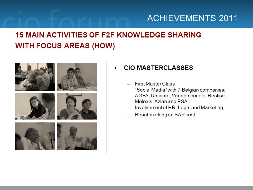 ACHIEVEMENTS 2011 15 MAIN ACTIVITIES OF F2F KNOWLEDGE SHARING WITH FOCUS AREAS (HOW) CIO MASTERCLASSES –First Master Class Social Media with 7 Belgian companies: AGFA, Umicore, Vandemoortele, Recticel, Melexis, Azlan and PSA Involvement of HR, Legal and Marketing –Benchmarking on SAP cost