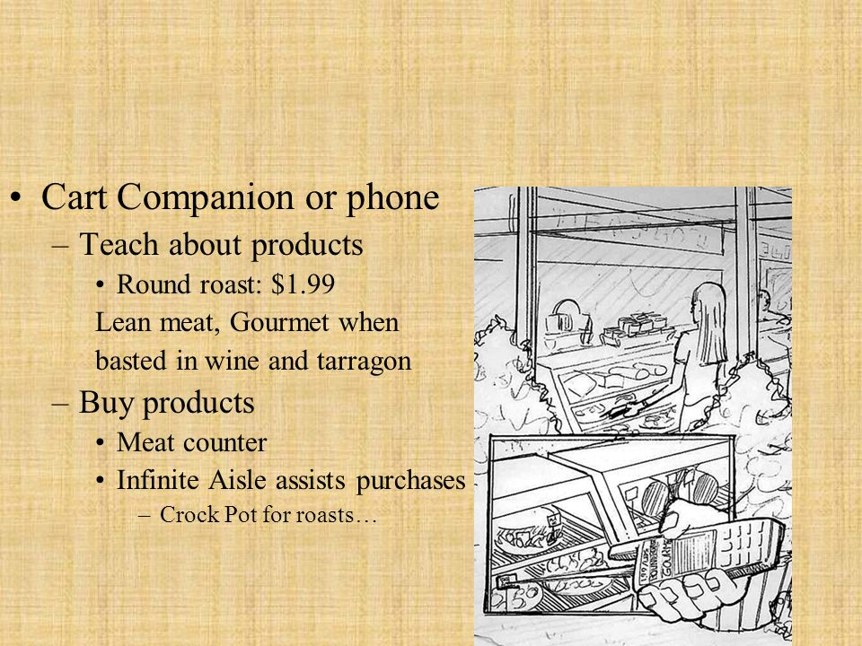 Cart Companion or phone –Teach about products Round roast: $1.99 Lean meat, Gourmet when basted in wine and tarragon –Buy products Meat counter Infini