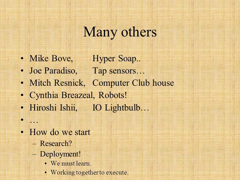 Many others Mike Bove,Hyper Soap.. Joe Paradiso, Tap sensors… Mitch Resnick,Computer Club house Cynthia Breazeal, Robots! Hiroshi Ishii,IO Lightbulb…