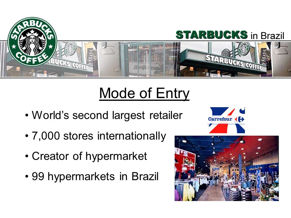Mode of Entry Worlds second largest retailer 7,000 stores internationally Creator of hypermarket 99 hypermarkets in Brazil