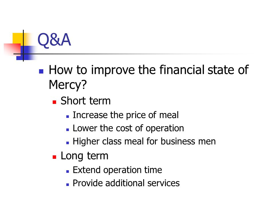 Q&A How to improve the financial state of Mercy.