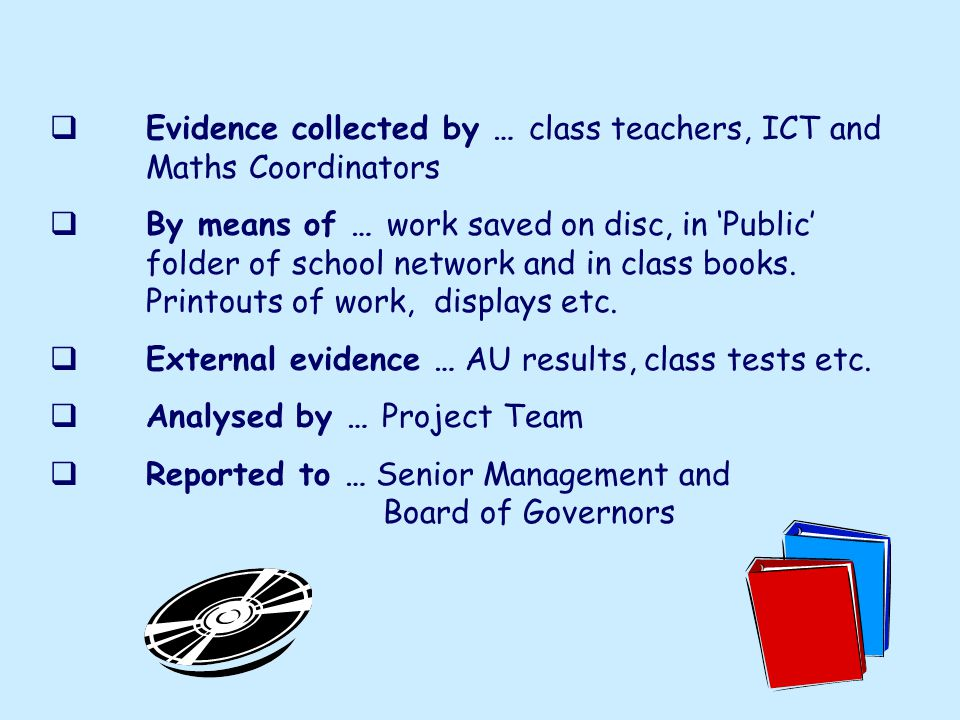 Evidence collected by … class teachers, ICT and Maths Coordinators By means of … work saved on disc, in Public folder of school network and in class books.