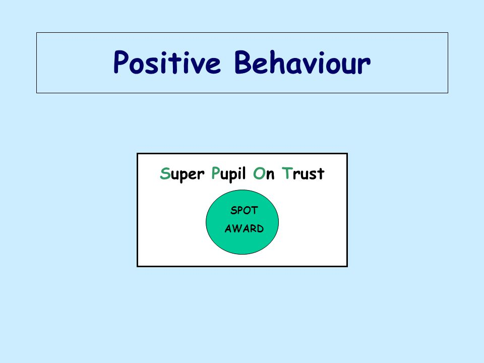 Positive Behaviour Super Pupil On Trust SPOT AWARD