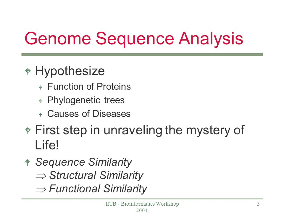 IITB - Bioinformatics Workshop Genome Sequence Analysis W Hypothesize W Function of Proteins W Phylogenetic trees W Causes of Diseases W First step in unraveling the mystery of Life.